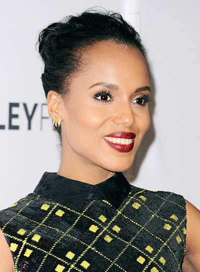 Kerry Washington Medium, Black, Sophisticated, Updo Hairstyle