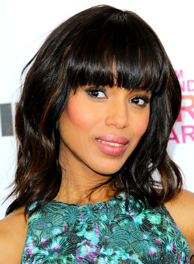 Kerry Washington's Medium, Wavy, Tousled Hairstyle with Bangs