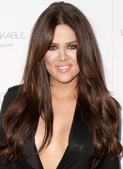 Khloe Kardashian Long, Brunette Hairstyle