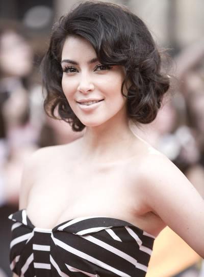 Kim Kardashian Curly Bob