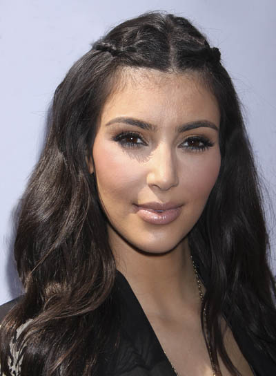Kim Kardashian Braided Half Updo