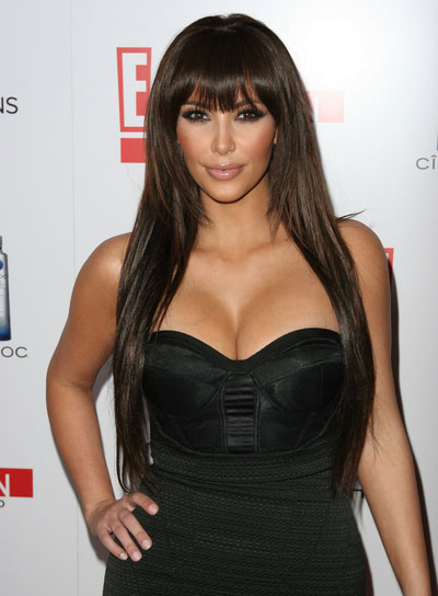 Kim Kardashian Long, Layered Hairstyle with Bangs