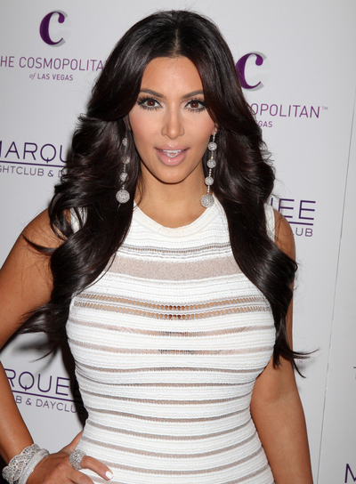 Kim Kardashian Long, Layered, Chic Black Hairstyle