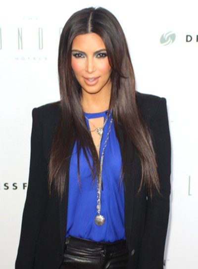 Kim Kardashian's Long, Layered, Straight, Chic Hairstyle