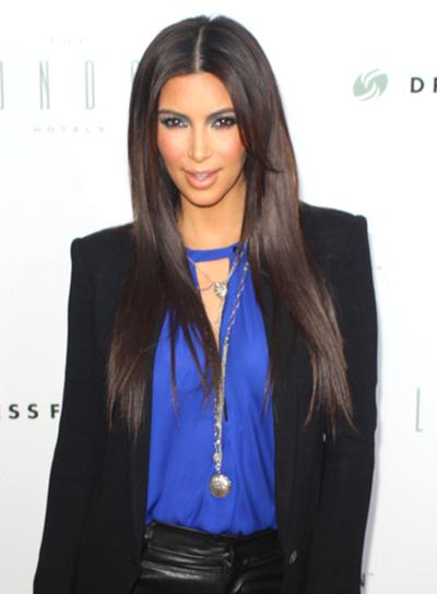 Kim Kardashian's Long, Layered, Straight, Chic Hairstyle