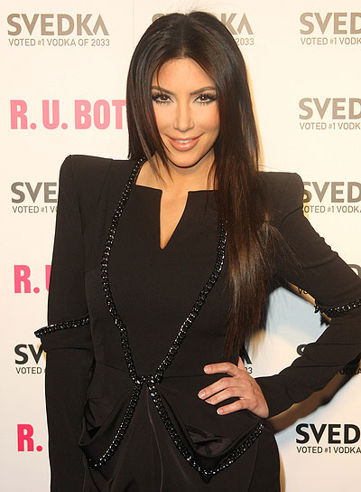 Kim Kardashian Long, Straight, Brunette Hairstyle
