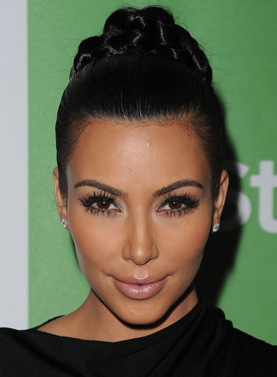 Kim Kardashian Chic, Black Updo with Braids and Twists