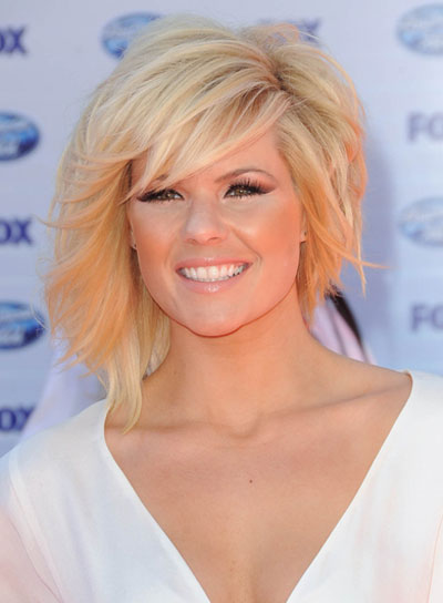 Kimberly Caldwell Short, Sophisticated, Blonde Hairstyle with Bangs