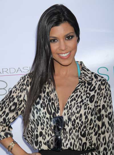 Kourtney Kardashian Long, Straight, Brunette Hairstyle