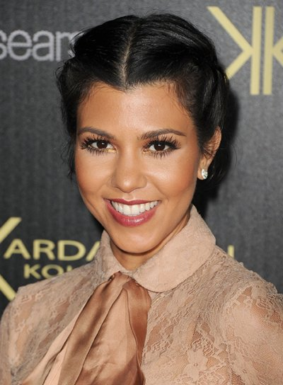 Kourtney Kardashian Romantic, Chic, Black Updo with Braids and Twists
