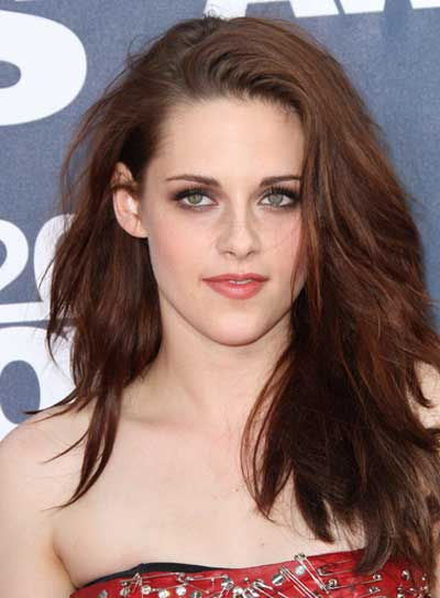 Kristen Stewart Sexy, Tousled, Edgy, Brunette Hairstyle
