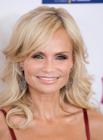 Kristin Chenoweth Sophisticated, Blonde, Prom Hairstyle with Bangs