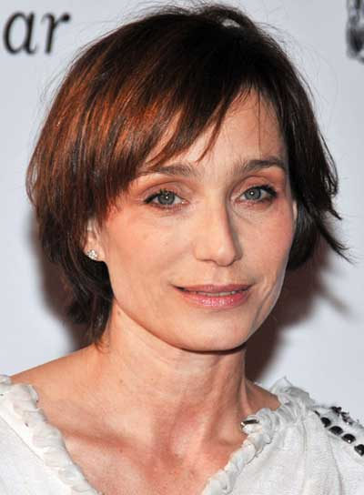 Kristin Scott Thomas Short, Straight, Layered, Brunette Bob with Highlights and Bangs