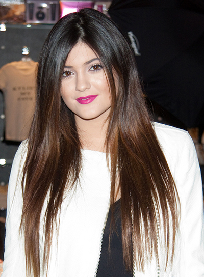 Kylie Jenner's Long, Brunette, Tousled, Straight Hairstyle