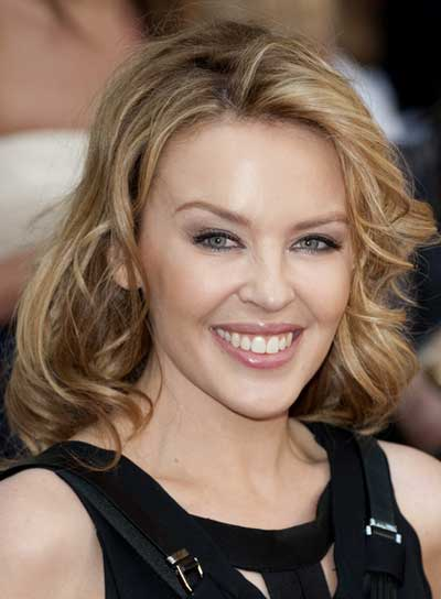 Kylie Minogue Wavy, Tousled, Blonde Hairstyle
