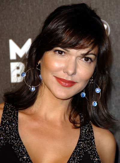 Laura Harring Medium, Straight, Brunette Half Updo with Bangs