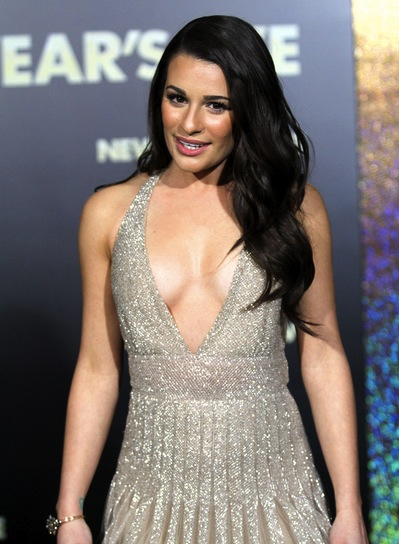 Lea Michele Long, Layered, Romantic, Sophisticated, Brunette Hairstyle