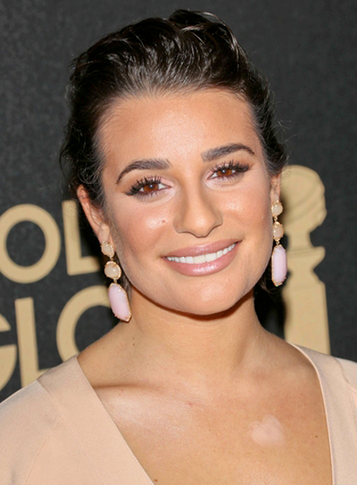 Lea Michele's Party, Wavy, Brunette, Updo Hairstyle