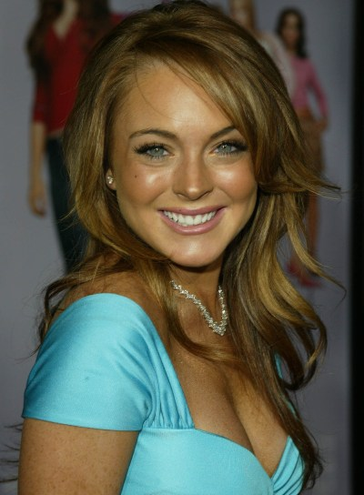 Lindsay Lohan Long, Layered, Blonde Hairstyle