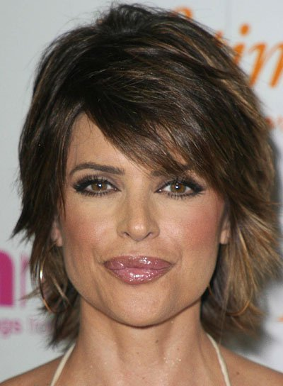 Lisa Rinna Short Hairstyle with Sideswept Bangs