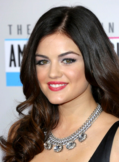 Lucy Hale's Long, Brunette, Wavy, Romantic Hairstyle