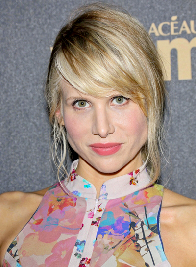 Lucy Punch's Wavy, Blonde, Tousled, Updo Hairstyle