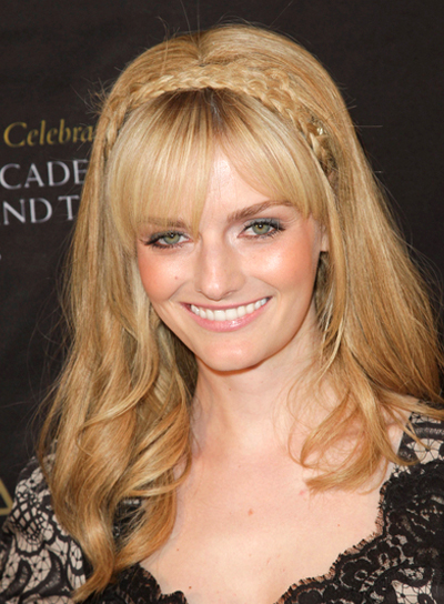 Lydia Hearst Long, Curly, Romantic, Blonde Hairstyle with Bangs