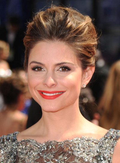Maria Menounos Romantic, Brunette Updo with Highlights