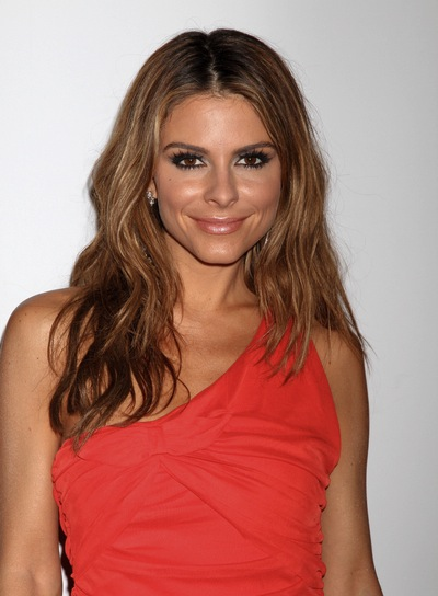 Maria Menounos Medium, Wavy, Tousled, Sexy, Brunette Hairstyle with Highlights