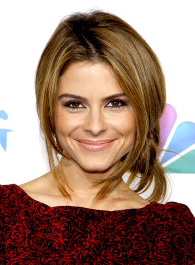 Maria Menounos' Brunette, Straight, Tousled, Updo Hairstyle