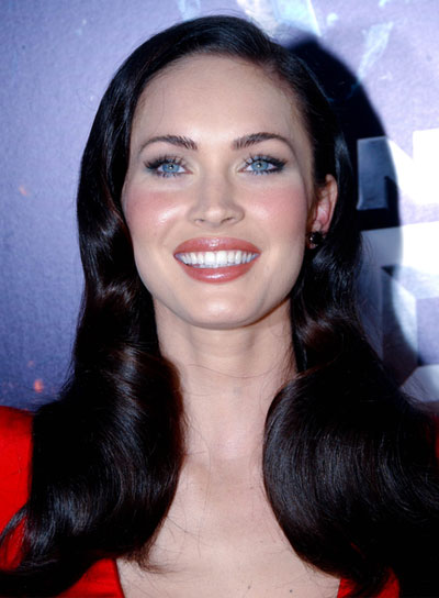Megan Fox Medium, Black, Romantic Hairstyle