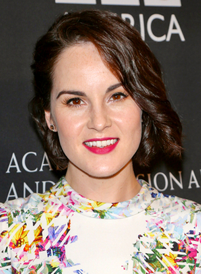 Michelle Dockery's Short, Curly, Brunette, Wedding Hairstyle