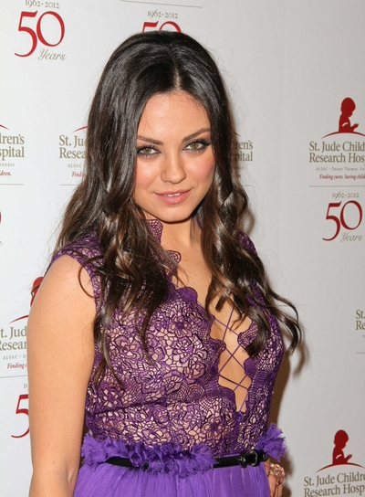 Mila Kunis Curly, Romantic, Sophisticated, Formal, Brunette Hairstyle