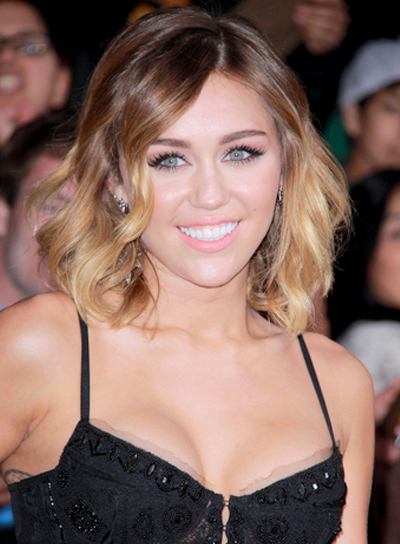Miley Cyrus' Medium, Sexy, Wavy, Bob Hairstyle