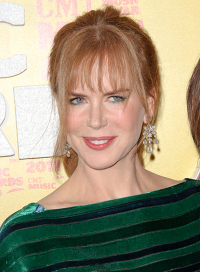 Nicole Kidman Chic, Red Ponytail with Bangs