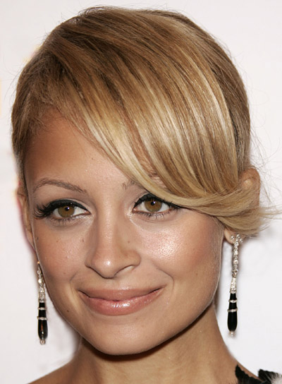 Nicole Richie Blonde Updo with Bangs