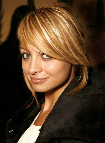 Nicole Richie Blonde, Straight Updo with Bangs and Highlights