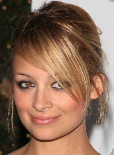 Nicole Richie Long, Blonde, Straight Updo with Bangs