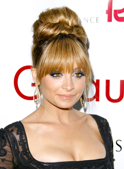 Nicole Richie's Long, Blonde, Party, Updo Hairstyle with Bangs