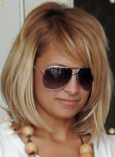 Nicole Richie Medium-Length, Blonde Bob