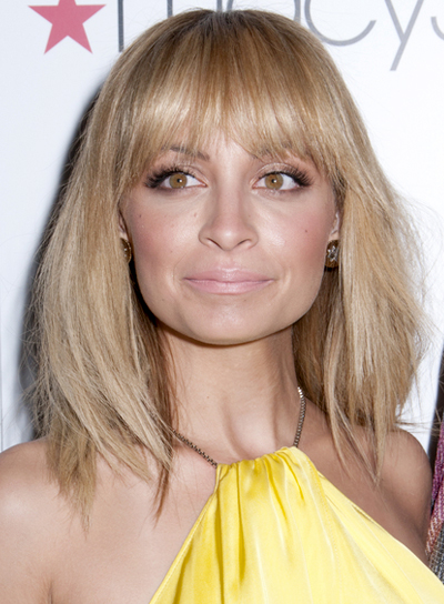 Nicole Richie's Medium, Edgy, Tousled, Bob Hairstyle with Bangs
