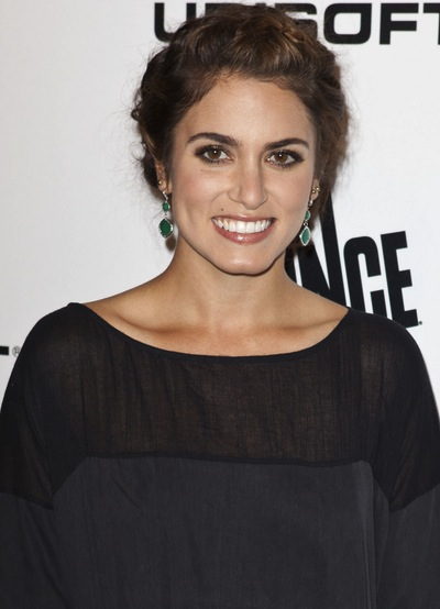 Nikki Reed Long, Wavy, Chic, Brunette, Updo Hairstyle with Highlights