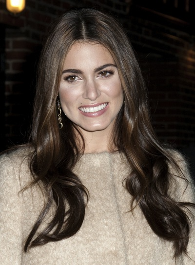 Nikki Reed Long, Wavy, Layered, Brunette Hairstyle