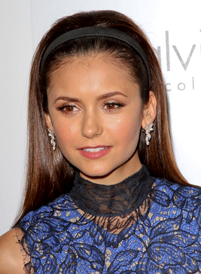Nina Dobrev's Long, Brunette, Chic, Straight Hairstyle