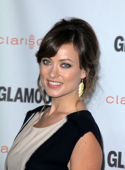 Olivia Wilde Romantic, Sophisticated, Brunette Updo with Bangs