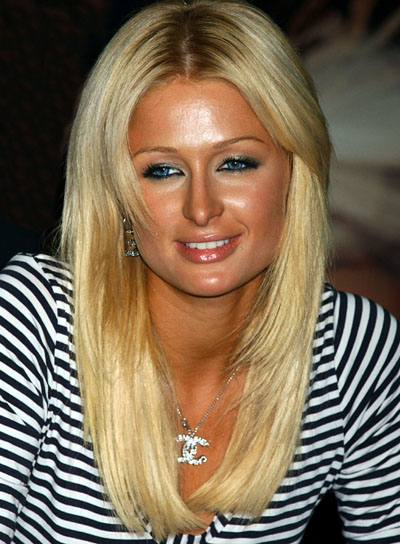 Paris Hilton Long, Straight, Blonde Hairstyle with Bangs