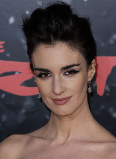 Paz Vega Sophisticated, Tousled, Straight, Brunette Updo