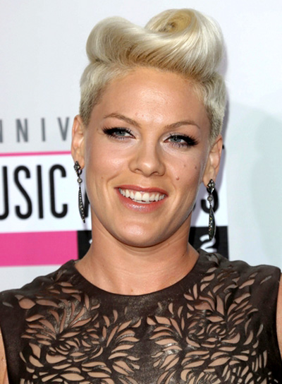 Pink's Short, Blonde, Edgy, Funky Hairstyle