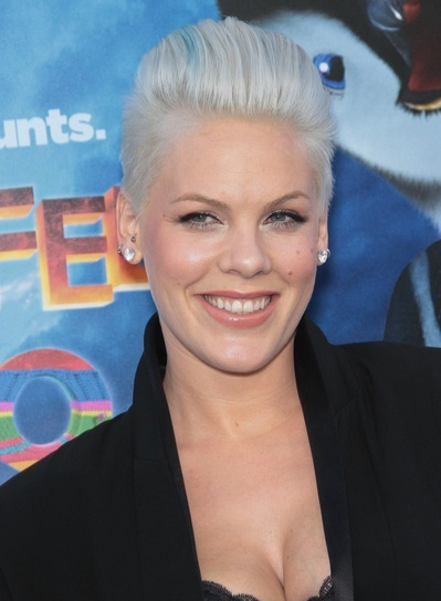 Pink's Short, Edgy, Funky, Blonde Hairstyle with Highlights