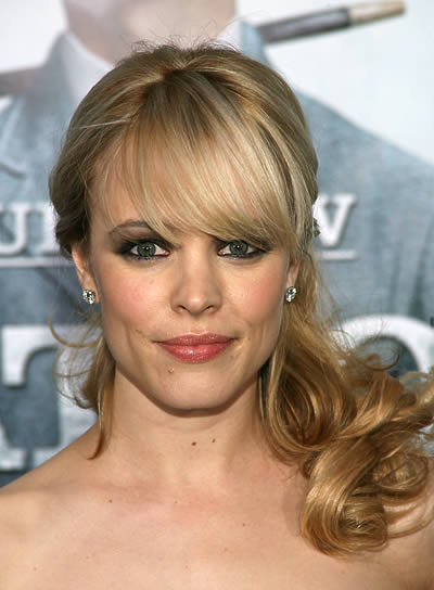 Rachel McAdams Curly Half Updo with Bangs